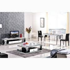 Living Room Furniture Tv Cabinet High Grade Stainless Steel Apple Tv Cabinet Marble Coffee Table