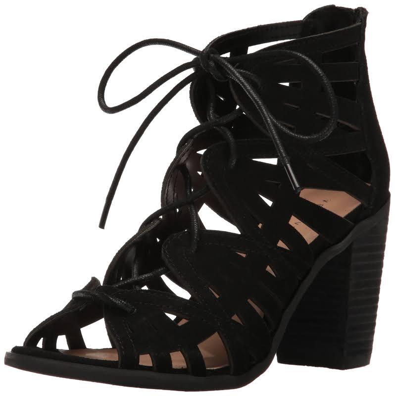 Very Volatile Anabelle Black Open Toe Heels