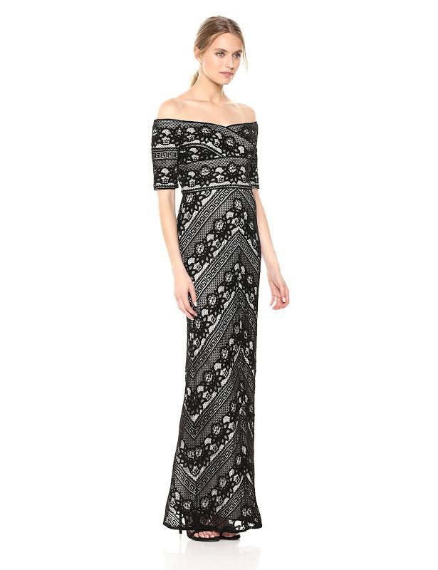 Adrianna Papell Formal Lace Evening Dress Black 4
