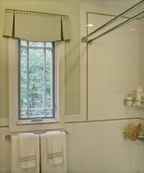 an elegant and tailored valance for the bathroom i like the pretty box valance in bathroom eclectic with valance ideas next to double curtain rod alongside shower curtain rod and shaped window treatments credit to