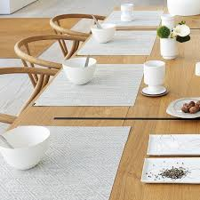 dining room white rectangle chilewich placemats with oval