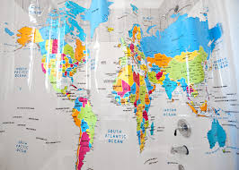 Bed Bath And Beyond Shower Curtain Liner World Map Shower Curtains Curtains Decoration