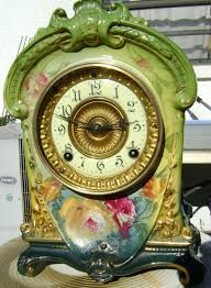Ansonia Mantel Clock Ansonia Clock Co La Cruz Royal Bonn Porcelain Mantel Clock Found