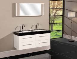 White Bathroom Vanity With Granite Top by White Wooden Bathroom Vanity Having Double Rectangle Sink And