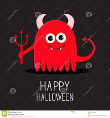 halloween cute background cute red evil monster with horns fangs and trident happy