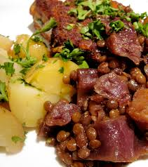 country style pork ribs with braised cabbage and puy lentils the