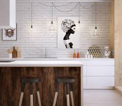 kitchen white exposed stained wall nice faux brick nice glossy nice glossy base cabinet under nice small pendant light dark brown oak wooden kitchen island solid surface countertop oval black backless barstool a