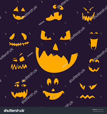 vector illustration scary halloween pumpkin faces stock vector