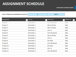 Assignment schedule   Office Templates Assignment schedule