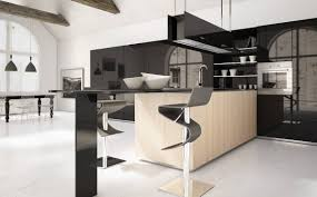 alluring modern style kitchen cabinets with large black glass