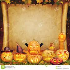 halloween background of wich halloween background scroll sign with carved orange stock