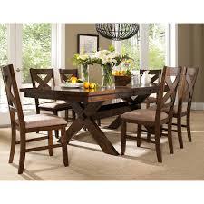 Round Dining Table Sets For 6 Powell Kraven 7 Piece Dark Hazelnut Dining Set Hayneedle