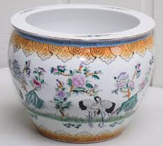 large chinese porcelain famille rose fish bowl jardiniere hand