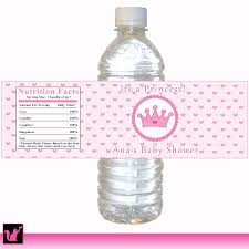 printable personalized pink hearts crown princess water bottle