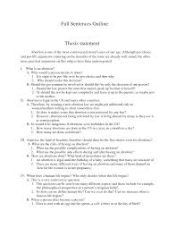 Thesis statement on abortion research paper Thesis Statement on Abortion Pro and Cons   Paper
