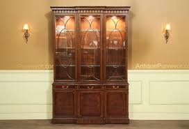glass door hutch traditional inlaid mahogany china cabinet hutch breakfront