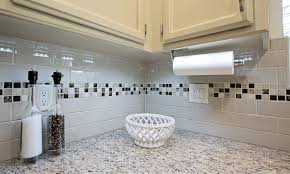 delighful kitchen backsplash subway tile with accent trends