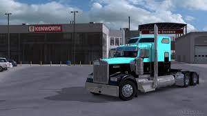 2018 kenworth w900 kenworth w900 light blue black american truck simulator ats mods