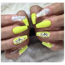 neon yellow coffin nails spring nail art design nails