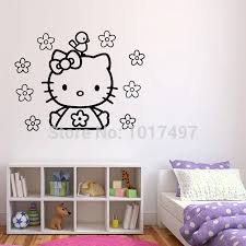 compare prices on kitty wall stickers online shopping buy low free shipping vinyl wall stickers hello kitty cute hello kitty with flower and bird decal