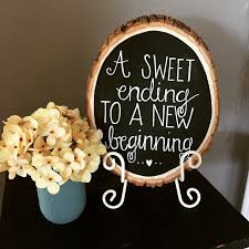 wood slice chalkboard sign customized home decor gift idea