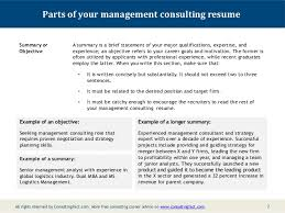 Examples Of Summaries On Resumes by Management Consulting Resume Sample