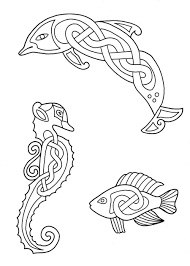 celtic coloring pages fish dolphin seahorse coloringstar