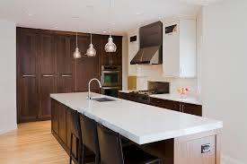 Dark And White Kitchen Cabinets Dark Brown Wooden Kitchen Cabinets And Island Having White