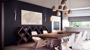 dining room appealing pendant lighting with wood wine rack and