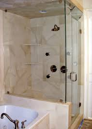 shower with partial wall modernize your bathroom with a luxurious corner shower stalls for inspiring glass shower panels with corner soap storage and white tub in apartment bathroom ideas