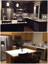 Formica Laminate Kitchen Cabinets Upgraded Kitchen Espresso Dark Stained Cabinets Added Hardware