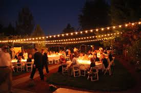 Wedding Backyard Reception Ideas by Backyard Wedding With Italian String Lights Hung Overhead And