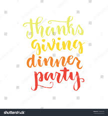 greeting for thanksgiving thanks giving dinner party lettering hand stock vector 337980344