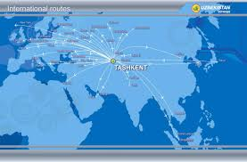 Carrier Route Maps by Routes Map Uzbekistan Airways