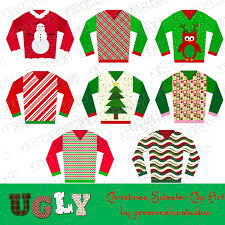 ugly christmas sweater party clipart instant download uprint
