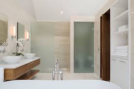 modern minimalist bathroom design with frosted glass door and room modern minimalist bathroom design with frosted glass door and room divider plus oak bathroom vanity with white marble countertop and mounted mirror ideas