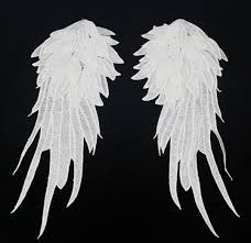 Wings Halloween Costume 1pair Black White Embroidered Angel Wings Lace Fabric Shoulder