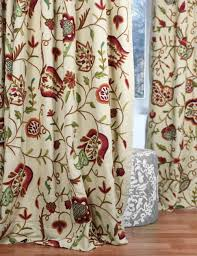 crewel curtain panels and drapes hand embroidered cotton fabric