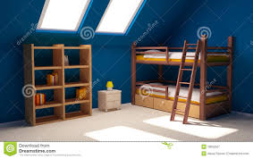 bright blue kids room with loft bed stock photo image 43910824