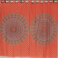 orange cotton curtains peacock tail fan bohemian 2 window