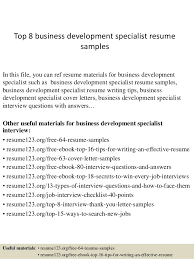 Inventory Specialist Resume Sample by Top 8 Business Development Specialist Resume Samples 1 638 Jpg Cb U003d1427855819