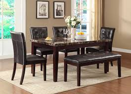 homelegance teague faux marble dining set espresso d2544 64