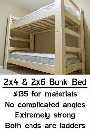 Wood Bunk Beds Plans by Easy Strong Cheap Bunk Bed Diy Wood Projects Pinterest