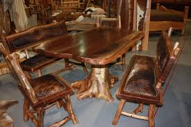 Teak Dining Room Table And Chairs by Furniture Brown Log Wood Dining Table With Chair Using Brown