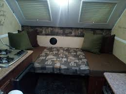 Pop Up Camper Interior Ideas by Dining Table Converts To Double Bed Inside The Flagstaff A Frame
