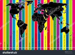 World Time Zones Map by Background World Map Colorful Time Zones Stock Vector 280915991