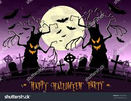 scary moon background halloween background scary monsters trees on stock vector