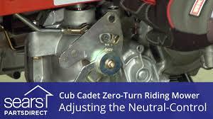 how to adjust a cub cadet zero turn riding mower neutral control