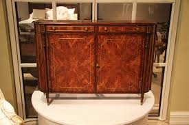 narrow mahogany regency buffet or console table with brass inlay