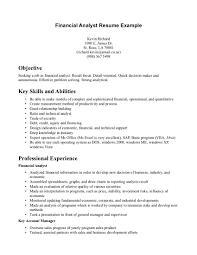Sample Investment Banking Analyst Resume Resume Objective For Banking Sector Virtren Com